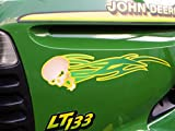 Tribal Skull decals - 2pc set for John Deere & all riding ride on lawn garden mower tractor racing (Green/Yellow)