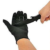 OVOS Work Gloves Stainless Steel Wire Mesh Gloves-Cut Resistant, Safety Work gloves Anti-Slash Cut Static Resistance Protect Gloves - Resistant Level 5 Cut (1 pair)