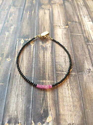 Pink Stone Sapphire Precious (JP_Beads Delicate Genuine Natural Black Obsidian | Pink Sapphire Dainty Gold Filled Filled Filled Semi Precious Bead Beaded Gemstone Bracelet | Boho | Stacking | 2mm)