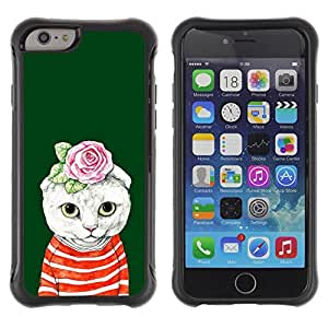 """All-Round Hybrid Rubber Case Hard Cover Protective Accessory Compatible with Apple iPhone 6PLUS ¡ê¡§5.5"""") - kit cat kitten rose green absurd"""
