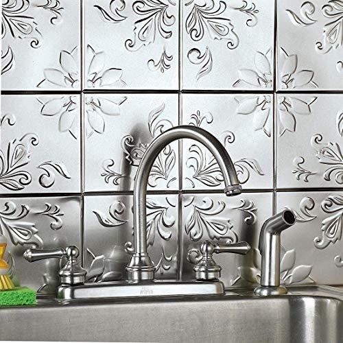 Tin Peel & Stick Raised Floral Pattern Backsplash, Kitchen, DIY Wall Tiles - Set Of 16, Silver (Backsplash Pressed Tin)