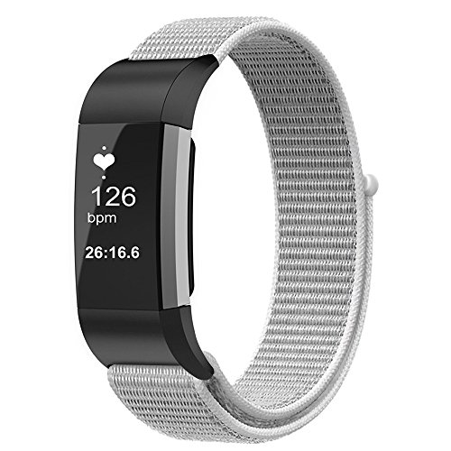 Fintie Band for Fitbit Charge 2, Nylon Sport Loop Breathable Nylon Replacement Strap Wrist Bands with Adjustable Closure for Fitbit Charge 2 HR Smart Fitness Tracker, Seashell