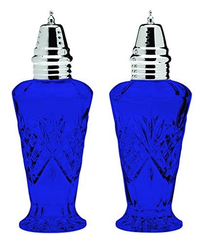 Cobalt Glass Salt (Godinger Crystal Dublin Salt and Pepper Set Shakers - Full Color Cobalt Blue - Additional Vibrant Colors Available by TableTop King)