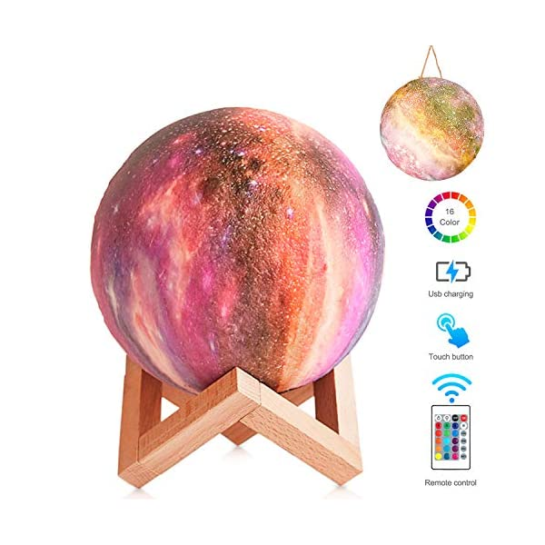 Moon Lamp Moon Night Light Decorative Galaxy Lamp, Touch & Remote Control 16 Colors LED 3D Star Lamp with Stand, Birthday Valentines Day Romantic Gift for Girls Women Lover Kids (5.9 inch Purple)