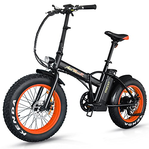 Addmotor Motan Electric Fat Tire 20Inch Bikes 500w 48v Snow Folding Bicycles Lithium Battery 4 Colors M-150 E-bikes For Men(Orange)
