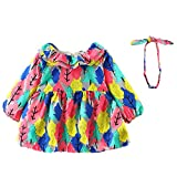 Zyyuk Toddler Baby Girl Ruffles Dress Long Sleeve Cartoon Tree Party Skirt Outfit,Hot Pink-12 Months