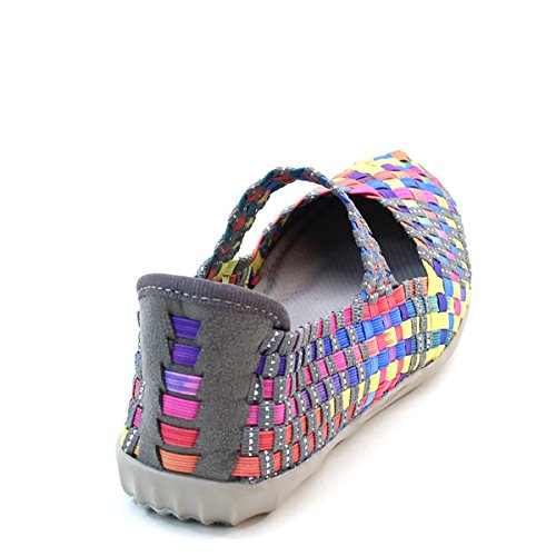 Brieten Dames Comfort Wedge Geweven Schoenen E-grey Multi