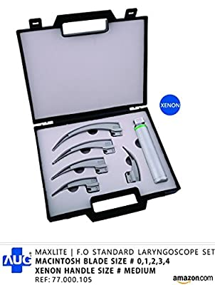 Maxlite | F.o Standard Laryngoscope Set With Macintosh Blade Size 0,1,2,3,4 And Xenon Handle Size Medium In Plastic Case