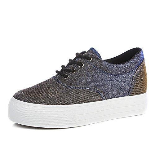 Plataforma de suela gruesa con aumento en los zapatos de verano/Zapatos de glitter Plata clásica tela deporte vela paño A
