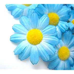 "(12) Silk Blue Gerbera Daisy Flower Heads , Gerber Daisies - 1.75"" - Artificial Flowers Heads Fabric Floral Supplies Wholesale Lot for Wedding Flowers Accessories Make Bridal Hair Clips Headbands Dress 90"