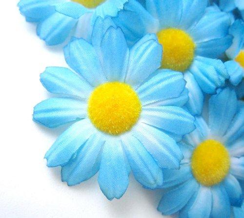 """(12) Silk Blue Gerbera Daisy Flower Heads , Gerber Daisies - 1.75"""" - Artificial Flowers Heads Fabric Floral Supplies Wholesale Lot for Wedding Flowers Accessories Make Bridal Hair Clips Headbands Dress"""