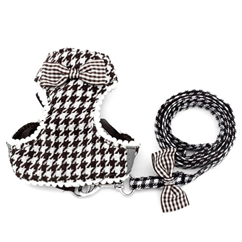 SMALLLEE_LUCKY_STORE Small Dog Harness for Girls Boys Cat Dog Houndstooth Vest Harness and Leash All Seasons Gray, Medium, - Houndstooth Dog Harness