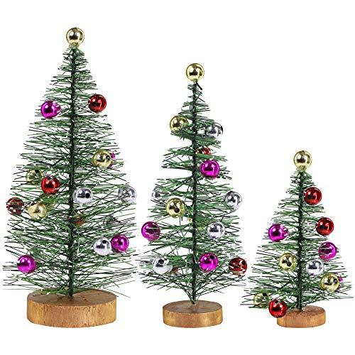 3 Pack Frosted Green Bottle Brush Trees with Metallic Bead Ornaments Artificial Mini Pine Trees Tabletop Christmas Trees on Wood Stand for Vintage Holiday Décor Winter Miniature Village Assorted Sizes (Bottles Tree Christmas From)