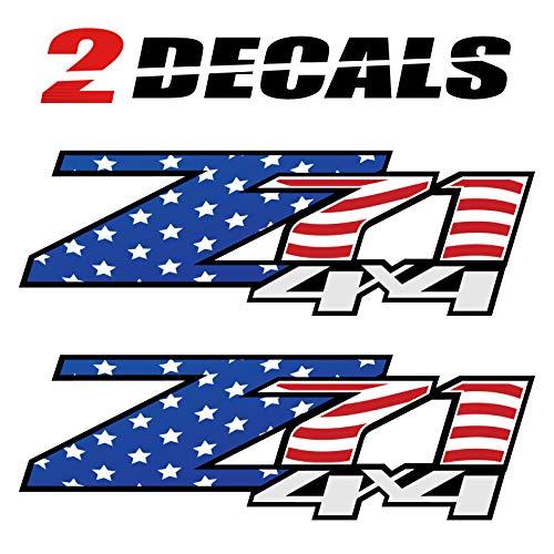 TiresFX Chevrolet Silverado Z71 4x4 USA Flag Decals - F - 1500 2500 HD Stickers