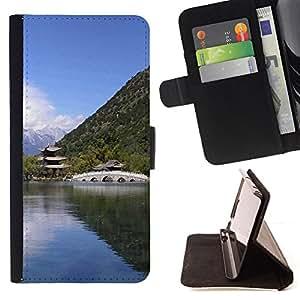 BullDog Case - FOR/Apple Iphone 5 / 5S / - / Nature Asian Temple /- Monedero de cuero de la PU Llevar cubierta de la caja con el ID Credit Card Slots Flip funda de cuer