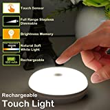 Rechargeable Touch Light, RTSU DIY Stick Anywhere Led Night Light Touch Lamp Tap Light (Touch Sensor Switch, Stepless Dimmer, Last Setting Memory, Built-in Battery Powered, Warm White Light)