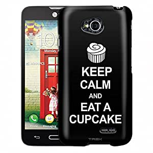 LG Realm Case, Slim Fit Snap On Cover by Trek KEEP CALM Eat A Cupcake on Black Case