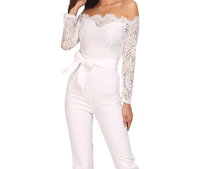 1ee8d12f7a4 Amazon.com: Momtuesdays2 Women Lace Off Shoulder Long Sleeve ...
