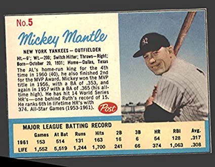 1962 Post Cereal Baseball Card 5 Mickey Mantle Ad Card Of The New