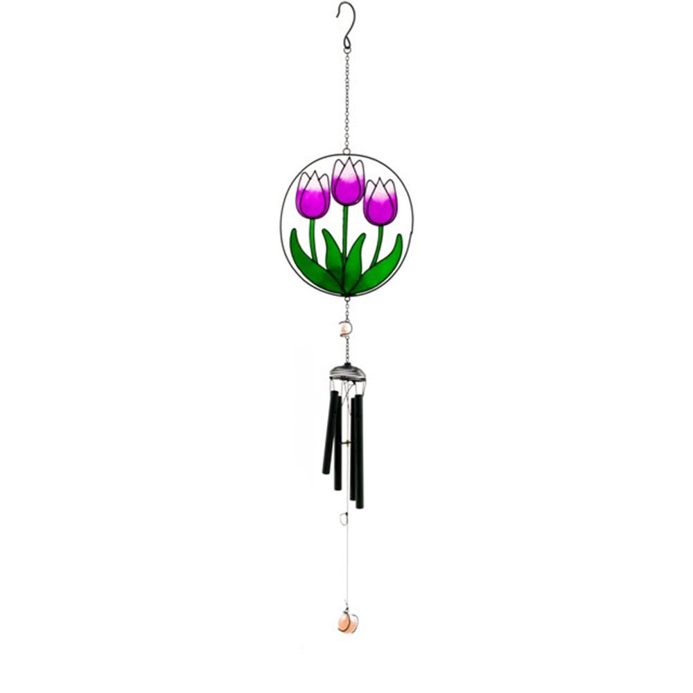 Colourful Tulip Wind Chime - Flower Design - Resin, Glass, Metal Home and Garden Ornament (Orange A) Jones Home and Gift