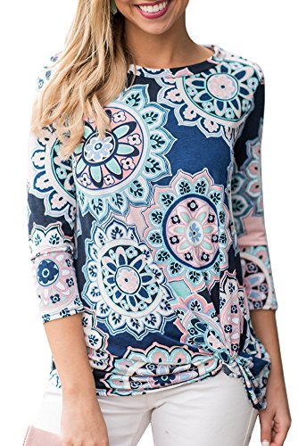 Spadehill Womens 3/4 Sleeve Boho Cotton Blouse Knot Twist Front Floral Printed Casual Slim Fit Tunic Tops Royal M