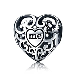Qings 925 Sterling Silver You and Me Charm Beads Fits Pandora, European Bracelets Compatible