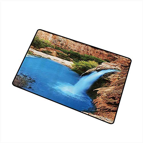 (Door mat Waterfall Decor Collection Waterfall Cliff Vibrate Colors Sunny Summer Wild Nature Print W24 xL35 Machine wash/Non-Slip Turquoise Peru Green )