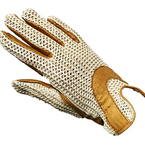 Ladies Horseshoes Athletic - Ovation Ladies Horseshoe Crochet Back Gloves with Leather Palm, Tan, Large (7.5)