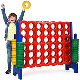 Costzon Giant 4-in-A-Row, Jumbo 4-to-Score Giant Games for Kids & Adults, Indoor Outdoor Party Family Connect Plastic Game, 4 Feet Wide by 3.5 Feet Tall w/42 Jumbo Rings & Quick-Release Slider (Blue)
