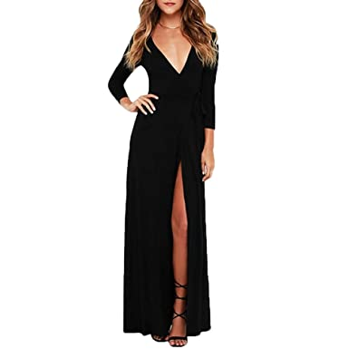 0f19ffc105e Beuway Long Sleeve Evening Dress V Neck Maxi Dresses for Women Slit Prom  Dress (S