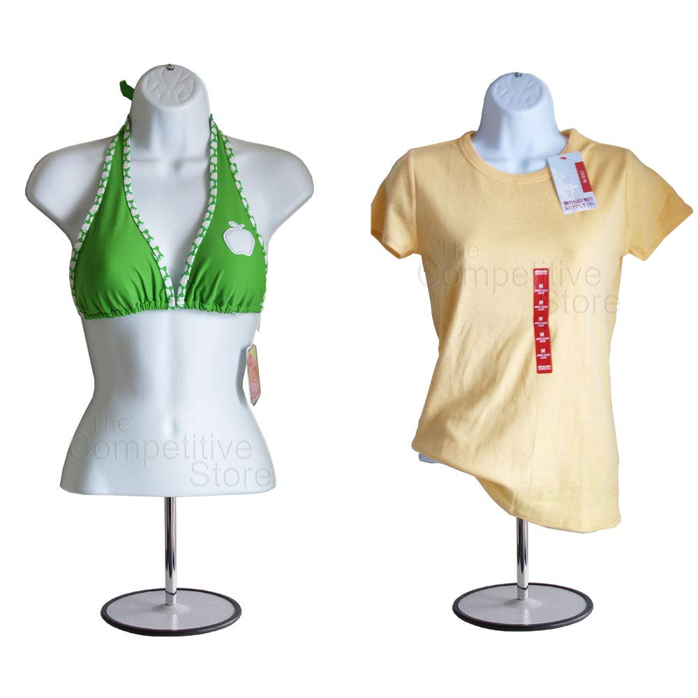 10-Pack Male + Female Mannequin Torso Set, Dress Form Hollow Back Body Tshirt Display, with Stand for Counter by EZ-Mannequins for Craft Shows, Photos or Design, Easy to Assemble and Store, S-M Sizes. by EZ-Mannequins (Image #4)