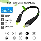 Dostyle Bluetooth Headphones, Tri-fold Wireless Neckband Headset HD Stereo Earphones with Retractable Earbuds and Mic (12 Hours Talk Time, Bluetooth 4.1, Sweatproof)