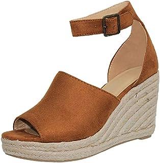 Women Ankle Strap Wedges Sandals❀Ladies Breathable Shoe Plus Size Fish Mouth Sandals