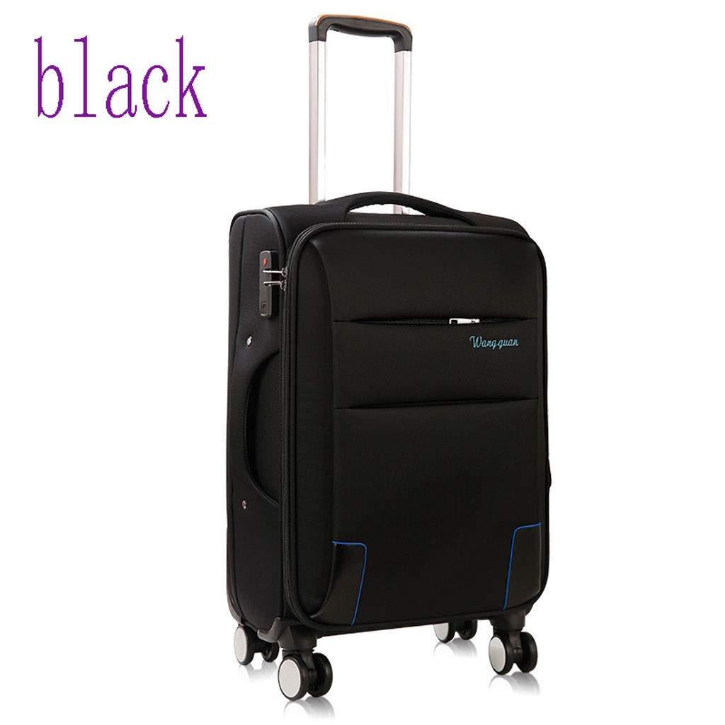 プルロッドケースユニバーサルホイールオックスフォード布ソフトトラベル布ケース学生荷物ケース (色 : ブラック, サイズ さいず : 22 inches) B07QRY4L25 ブラック 22 inches