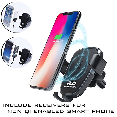 2-in-1 10W Wireless Car Charger For Qi-enabled Phones – Car Mount Gravity Phone Holder Fast with Charging Receiver For iPhone 7,6,5 - Compatible With iPhone X/8, Samsung Galaxy Note 8,S8+,S7,S6 Edge+ by RandConcept Wireless Charger