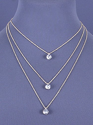 Womens Jewelry, Gold Tone Layered Necklace with Clear Crystal Accents. Length: 21 Inches. (Crystal Accent Gold Tone Key)