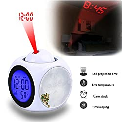 Projection Alarm Clock Wake Up Bedroom with Data and Temperature Display Talking Function, LED Wall/Ceiling Projection,Customize the pattern-806.Vintage Teacup With Flowers