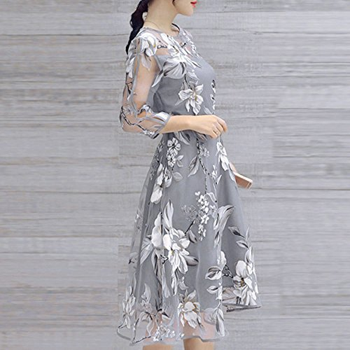 2311f5b11d0b TANGSen Women's Summer Organza Chic Dress O-Neck Floral Print Wedding Party  Ball Prom Gown Cocktail Dresses Gray