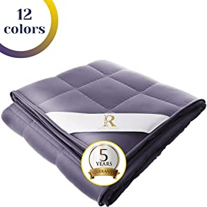 Royal Therapy Weighted Blanket 100% Calming Cotton Blanket with Glass Beads (60''x80'' 15lbs, Smoke Grey)