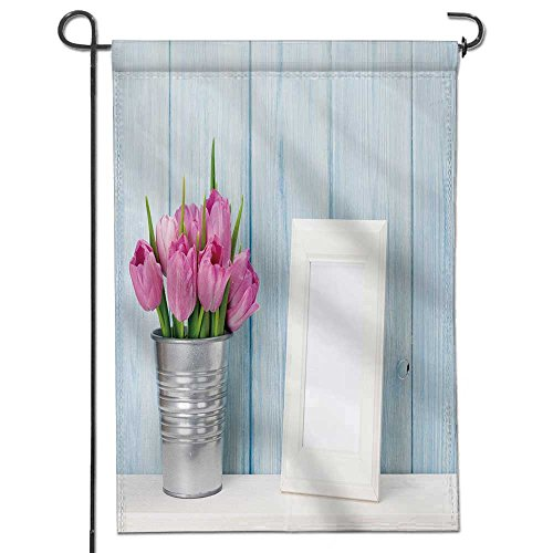 SCOCICI1588 Sweet Summer Garden Flag fresh pink tulip flowers bouquet and blank photo frame with copy space on shelf in front of wooden Stripes Seasonal Banner Print Both Sides 12