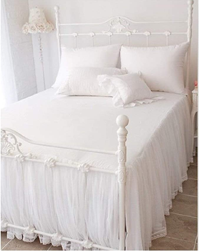 Colcha de algodón Encaje, Colcha Blanca Colcha Juego de Cama Funda de Almohada Funda nórdica Estilo Europeo Princesa Blanco 180x200cm (71x79 Pulgadas): Amazon.es: Hogar