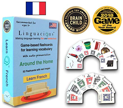Linguacious Award-Winning Around The Home French Flashcard Game - with Audio!