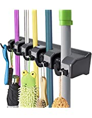 Mop and Broom Holder, Wall Mounted Organizer Mop and Broom Storage Tool Rack with 5 Ball Slots and 6 Hooks (Black)