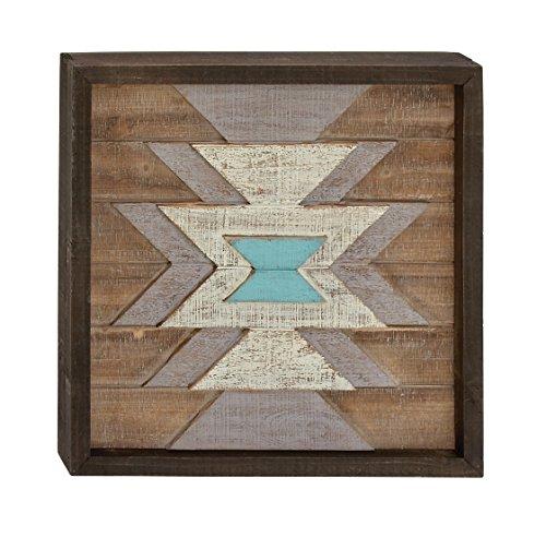 Benzara 95452 Wood Wall Plaque, Dark Brown, White, Cyan, ()