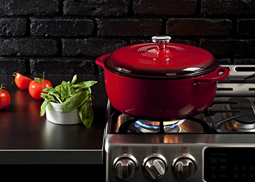 Lodge EC7D43 Enameled Cast Iron Dutch Oven, 7.5-Quart, Island Spice Red