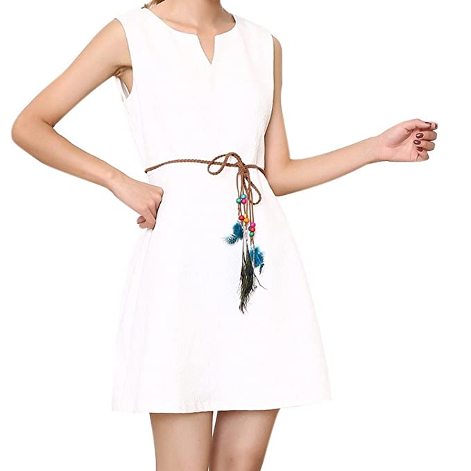 Women Skinny Braided Synthetic Leather Peacock Feather Waist Strap Belt Tie Up