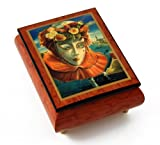 Festive Painted Ercolano Music Box Of A Carnival / Venetian Mask Titled Memories Of Summer - Wedding March (Mendelssohn) - SWISS