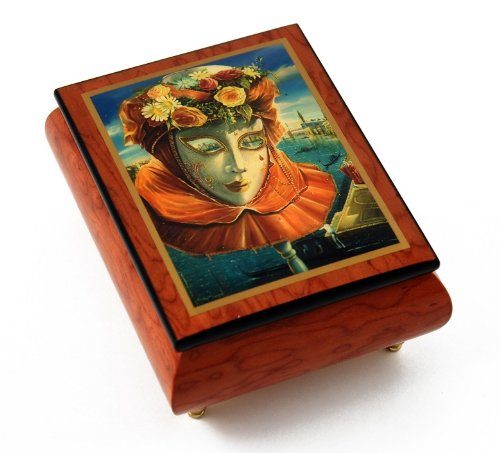 Festive Painted Ercolano Music Box Of A Carnival / Venetian Mask Titled Memories Of Summer - Wedding March (Mendelssohn) - SWISS by MusicBoxAttic