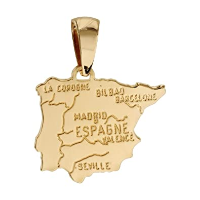 Helios Bijoux-Colgante país mapa España, chapado en oro-nuevo ...