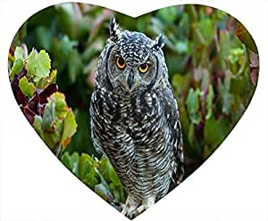 Birds Heart Shaped White Mouse Pad - The Owl Stare at You